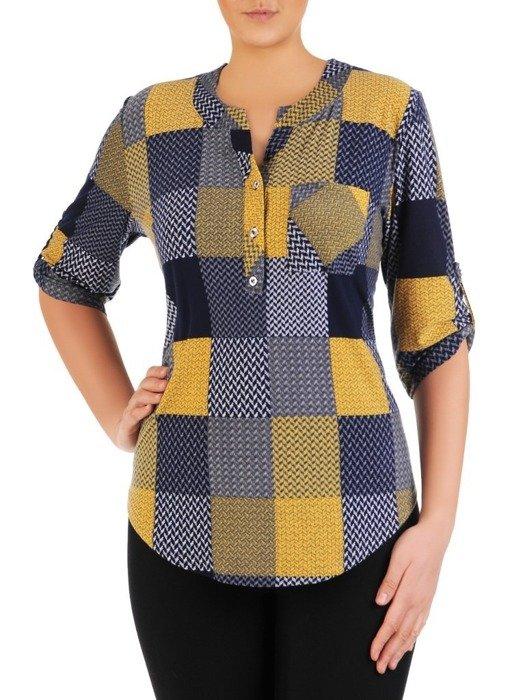 Dzianinowa bluzka z guzikami na dekolcie 24921