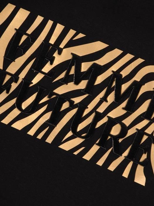 Dzianinowa, czarna bluzka z napisem 28330