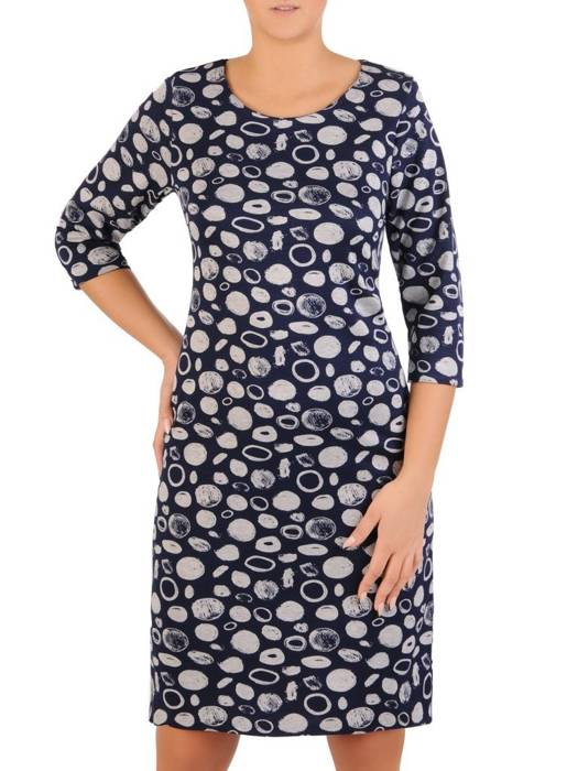 Dzianinowa, prosta codzienna sukienka na jesień 27629