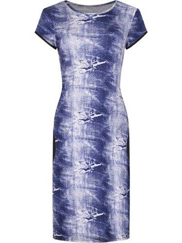 Dzianinowa sukienka w paski Adelajda IX, letnia kreacja z bocznymi kieszeniami.