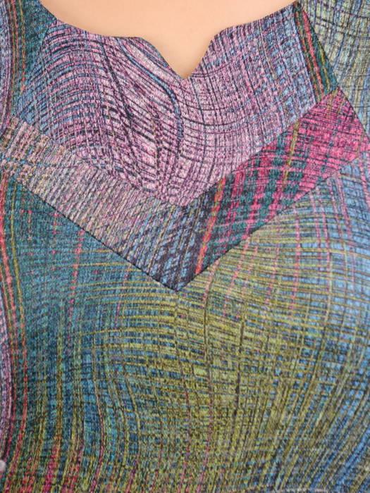 Dzianinowa sukienka z ozdobnie wyciętym dekoltem 30850