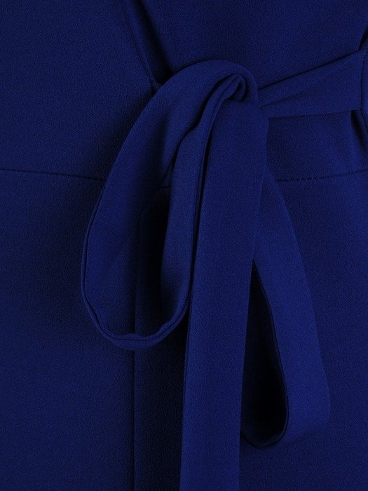 Dzianinowa sukienka z ozdobnym wiązaniem i tiulowymi rękawami 24420
