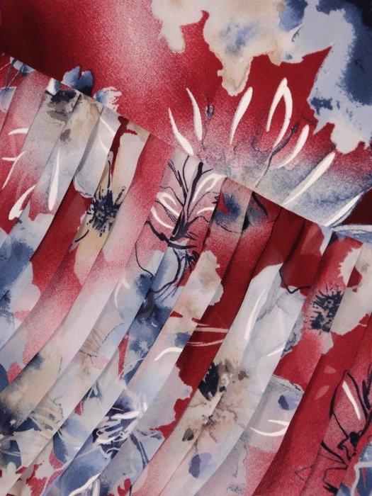 Dzianinowa sukienka z szyfonowymi rękawkami i plisami 25733