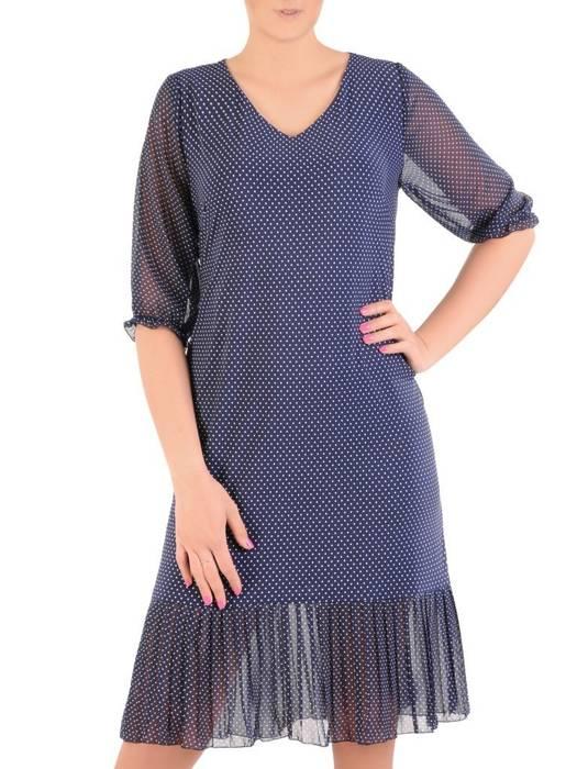 Dzianinowa sukienka z szyfonowymi rękawkami i plisami 30008