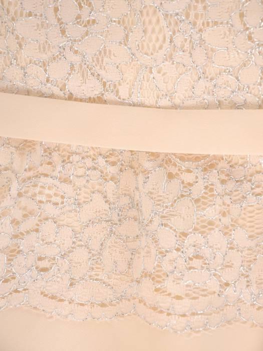 Elegancka beżowa sukienka z baskinką 28884