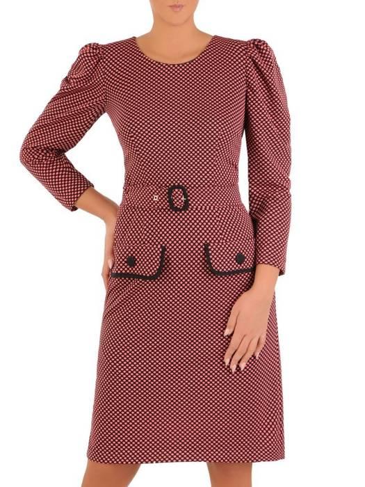 Elegancka dzianinowa sukienka z marszczonymi rękawami  27506