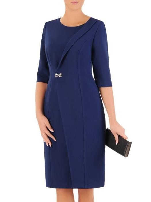 Elegancka granatowa sukienka, kreacja z ozdobnie wyciętym przodem 27177