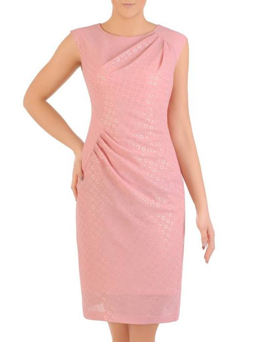 Elegancka, pudrowa sukienka w połyskujące złote groszki 29067