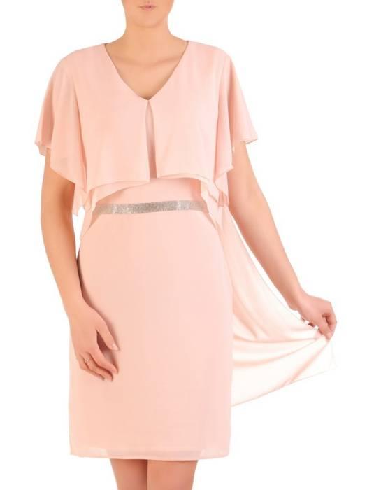 Elegancka pudrowa sukienka z ozdobnymi cyrkoniami 29651