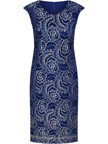 Elegancka sukienka bez rękawów Tomina II, koronkowa kreacja na wesele.