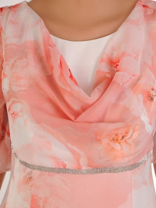 Elegancka sukienka damska, kreacja z ozdobnym dekoltem 28193