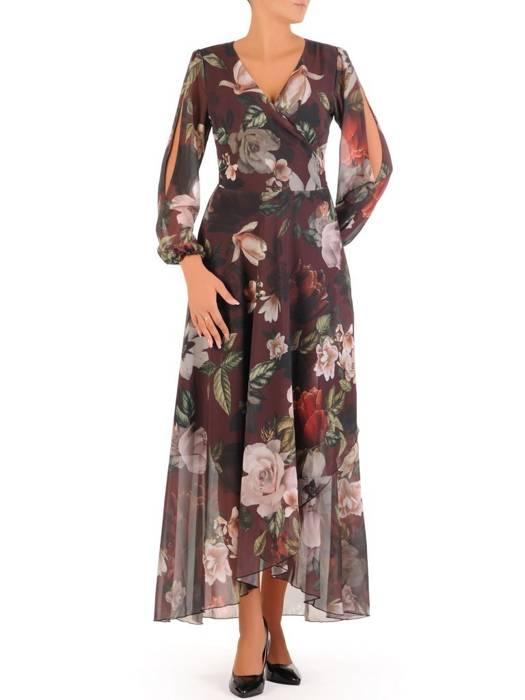 Elegancka sukienka maxi, kreacja z ozdobnymi rozcięciami na rękawach 30022