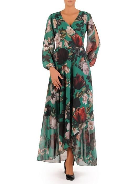 Elegancka sukienka maxi, kreacja z ozdobnymi rozcięciami na rękawach 30025