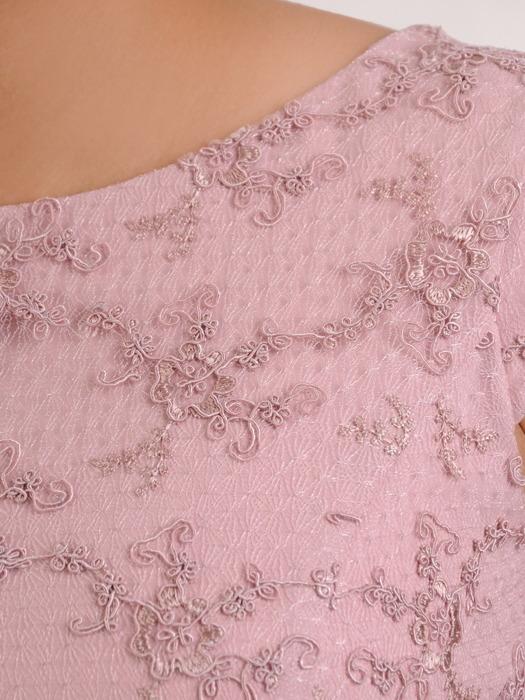 Elegancka sukienka na wesele, wrzosowa kreacja z koronki i tkaniny 20659.