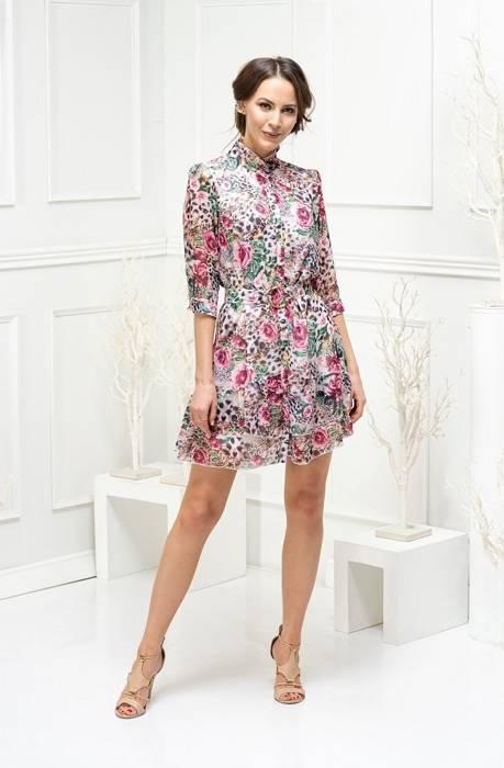 Elegancka sukienka w kwiatowy wzór, rozpinana kreacja z ozdobnym paskiem 29269