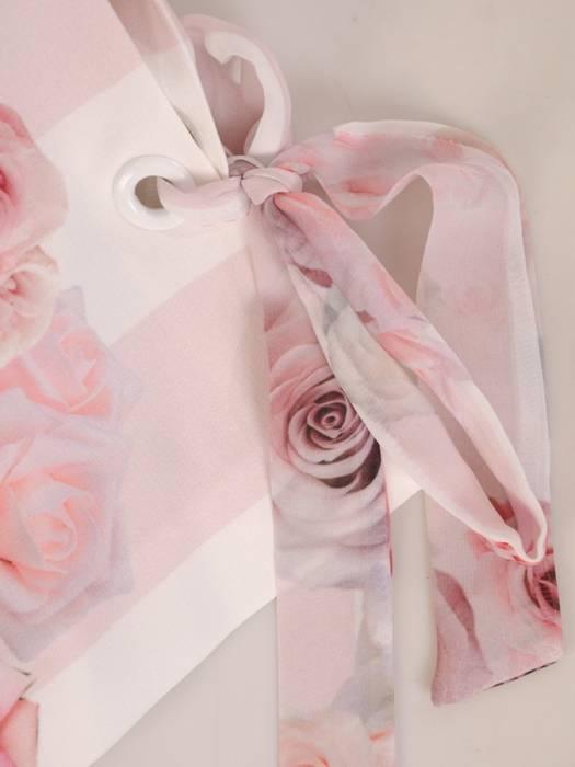 Elegancka sukienka w kwiaty, kreacja z ozdobnymi wiązaniami na rękawach 29261