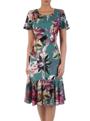 Elegancka sukienka w romantycznym fasonie, kreacja w wiosennych kolorach 15702