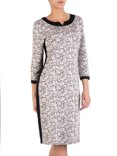 Elegancka sukienka wykończona czarnymi lamówkami Szarlota II