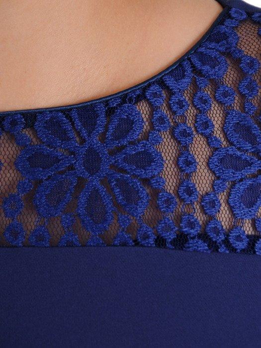 Elegancka sukienka z ażurowymi wstawkami, granatowa kreacja w modnym fasonie 19896