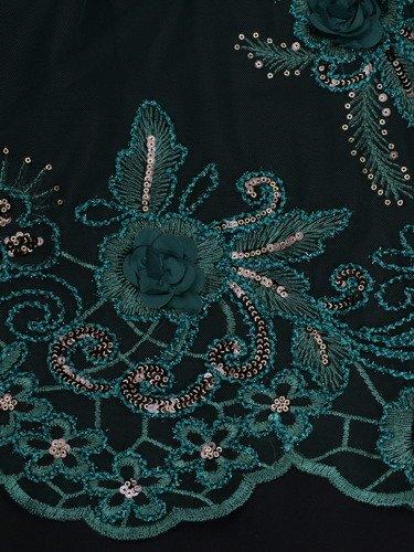 Elegancka sukienka z ozdobnej koronki 14553, modna kreacja wykończona cekinami.