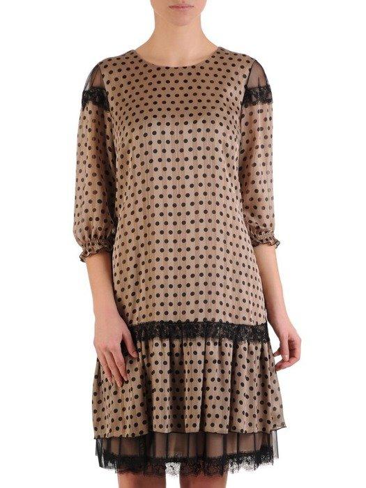 Elegancka sukienka z ozdobnymi koronkowymi i tiulowymi wstawkami 25261