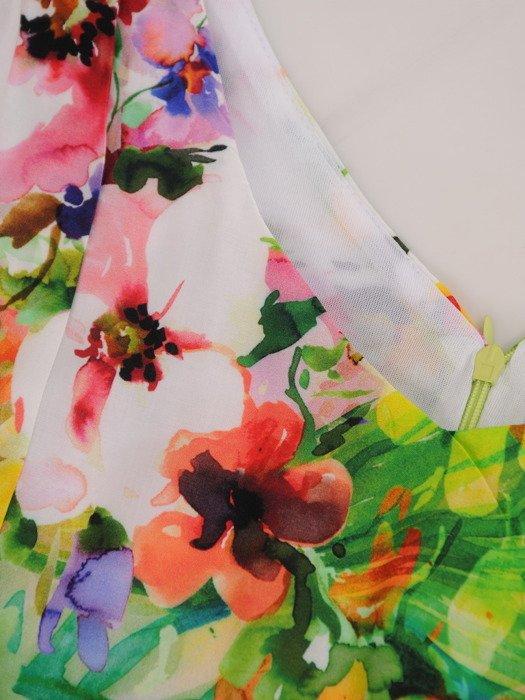Elegancka sukienka z paskiem 17120, modna kreacja w żywych kolorach.