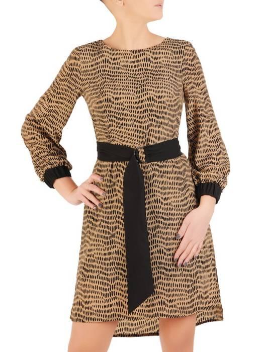 Elegancka sukienka z paskiem i gumkami na rękawach 28565