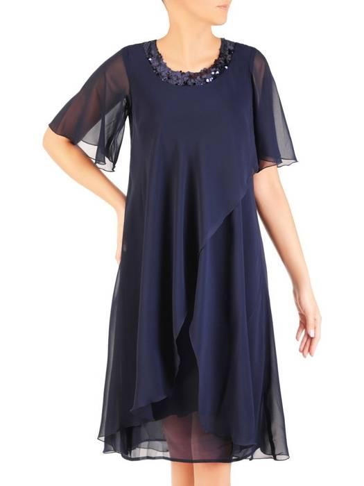 Elegancka sukienka ze zwiewnego szyfonu, kreacja z cekinami 30470