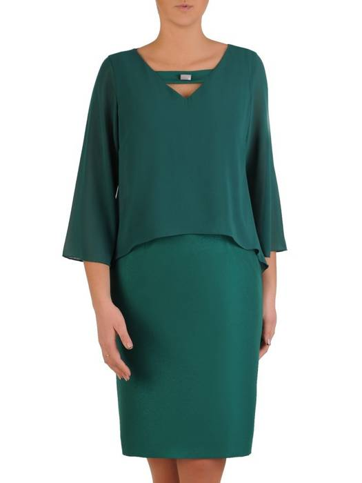 Elegancka zielona sukienka, kreacja maskująca niedoskonałości 28084