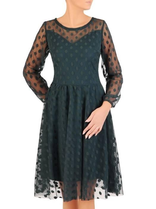 Elegancka zielona sukienka z tiulu w groszki 27634