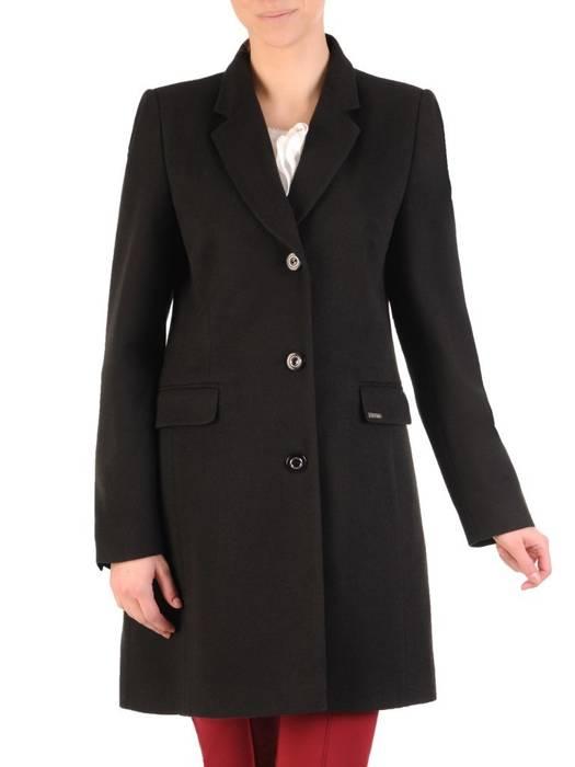 Elegancki, czarny płaszcz damski z kieszeniami 28546