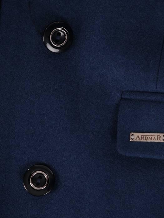 Elegancki, granatowy płaszcz damski z kieszeniami 28543