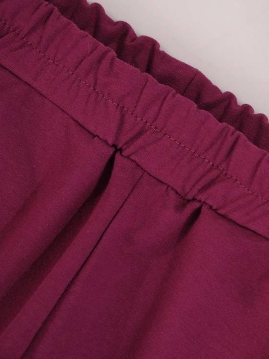 Fioletowy dres bawełniany, komplet z ozdobnymi wstążkami 29686