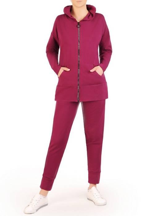 Fioletowy dres damski, wygodne spodnie z bluzą zapinaną na zamek 29642