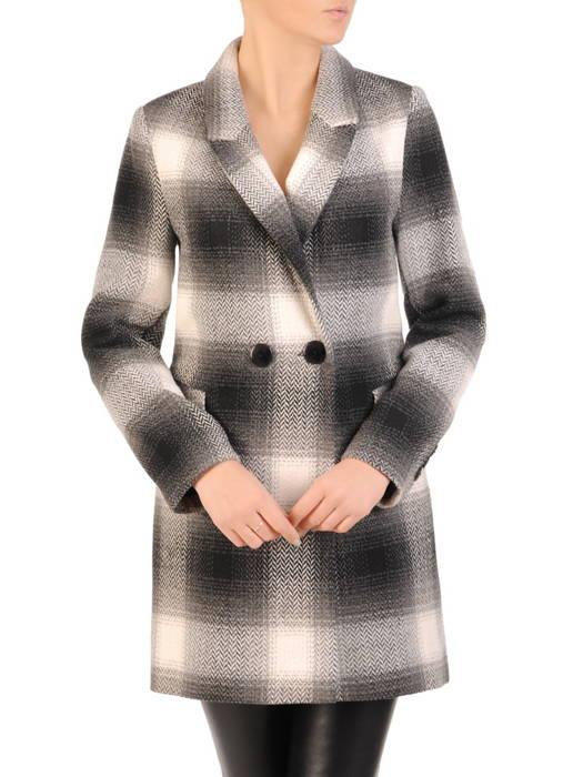Flauszowy płaszcz damski z kołnierzem i kieszeniami 30754