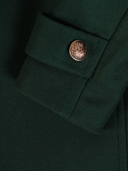 Flauszowy, zielony płaszczyk damski z ozdobnymi guzikami 27424
