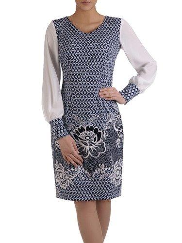 Geometryczna sukienka z szyfonowymi rękawami 14918.
