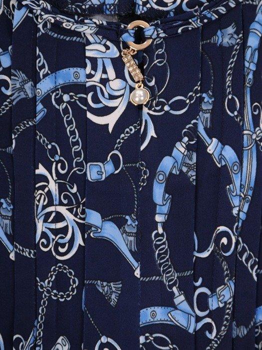 Granatowa bluzka z ozdobnym dekoltem 25010