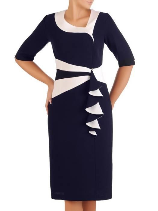 Granatowa sukienka damska, kreacja wyjściowa z ozdobną falbaną 27313