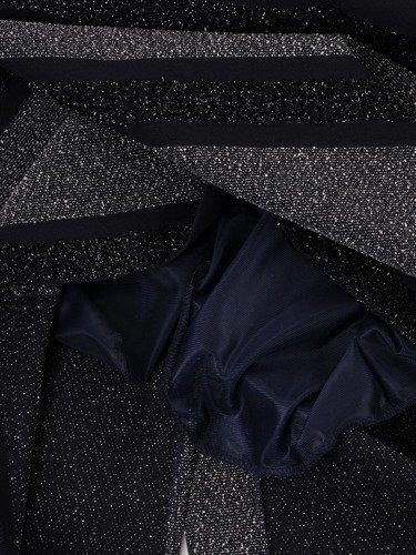 Granatowa sukienka koktajlowa Andrea I, kreacja wykończona błyszczącą nitką.