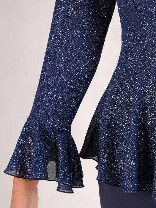 Granatowa sukienka na wyjście, modna kreacja z baskinką 27023