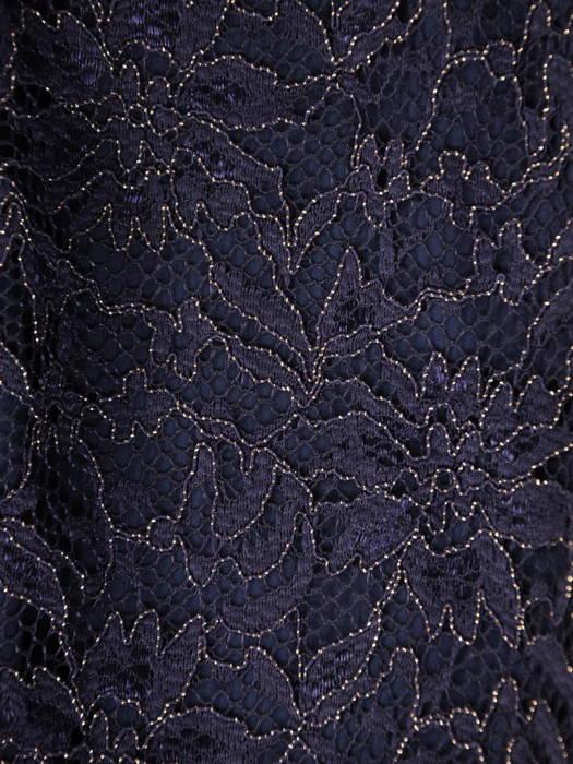 Granatowa sukienka wieczorowa z koronkowym topem i szyfonową spódnicą 30805
