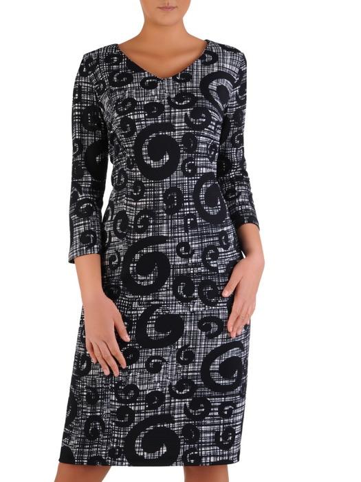 Granatowa sukienka z dzianiny, kreacja w oryginalnym wzorze 22343