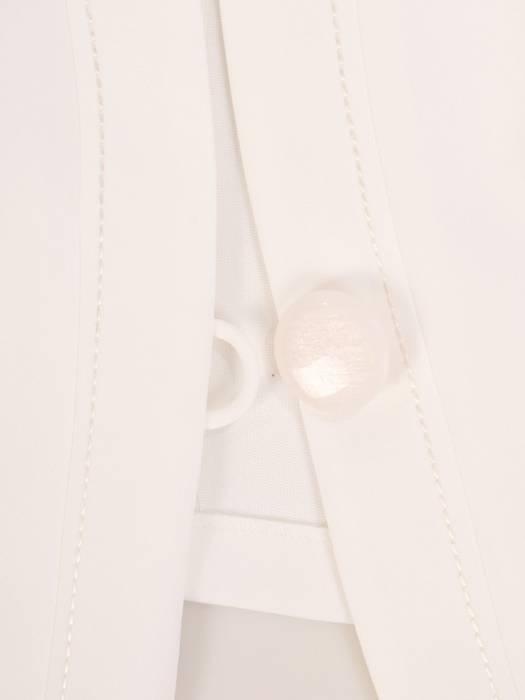 Granatowa sukienka z kontrastowym żakietem, modna kreacja na wesele 30013