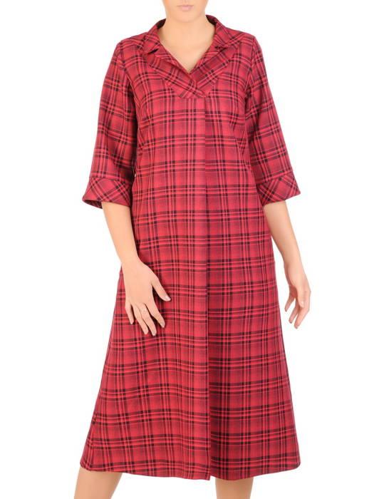 Jesienna sukienka w modną kratę, luźna kreacja z ozdobną zakładką 30700