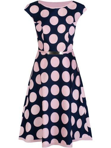 Klasyczna sukienka w duże grochy Julitta III, wiosenna kreacja z paskiem