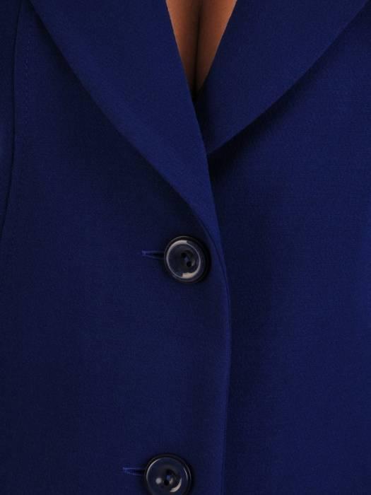 Klasyczny, chabrowy płaszcz z kołnierzem 27140