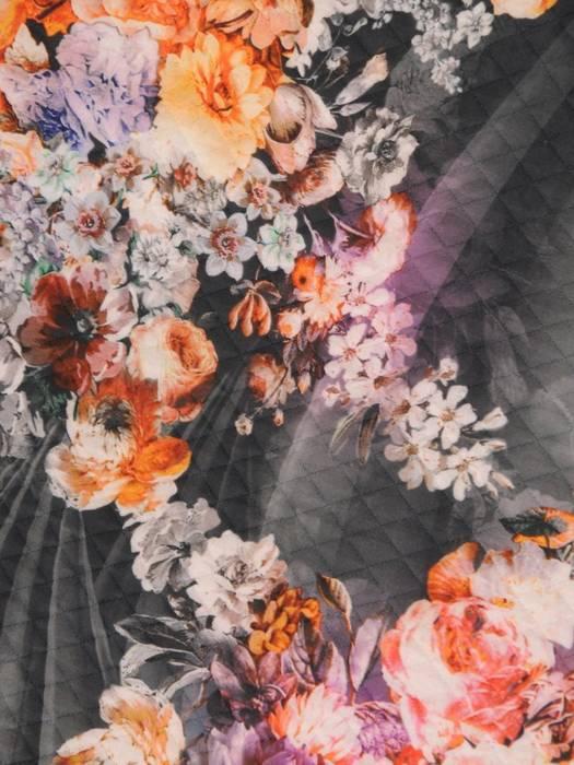 Kolekcja 28349, modna pikowana bluza, sukienka, żakiety i spódnica w kwiaty