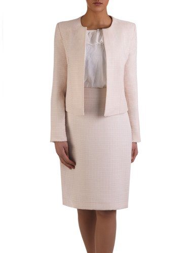 Kolekcja 28509, wiosenny żakiet i spódniczka z tkaniny żakardowej