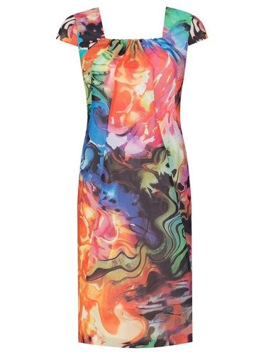 Kolorowa sukienka z szyfonu Mirka, kreacja z ozdobnym dekoltem karo.